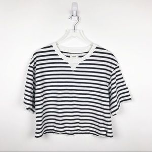 Madewell Striped Crop Boxy Tee Black White Sz M